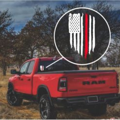 Red Line Fireman Weathered Flag Decal Sticker