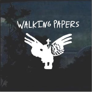 Walking paper band window decal sticker