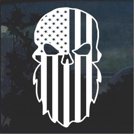 American Flag Beard Decal Sticker