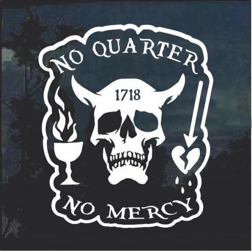 Blackbeard No Quarter Window Decal Sticker
