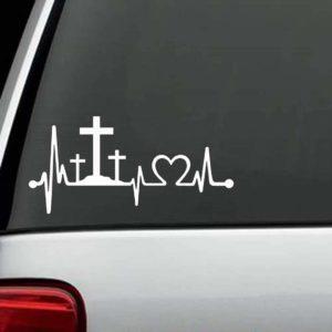 Crosses Heartbeat Christian Window Decal Sticker