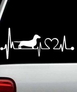 Dachshund Heartbeat Window Decal Sticker