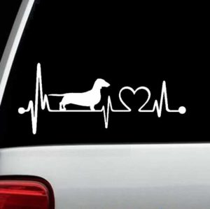 Dachshund Heartbeat Window Decal Sticker
