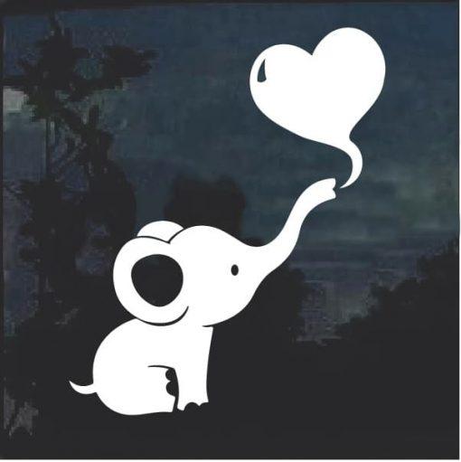 Dumbo Baby Elephant Heart Cute Window Decal Sticker