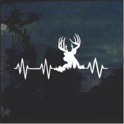 Elk Deer Heartbeat Buck Hunting Window Decal Sticker