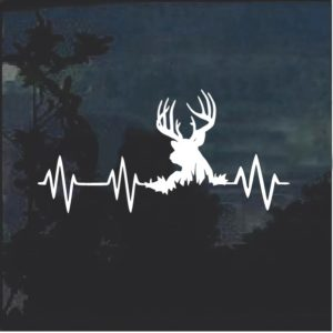 Elk Deer Heartbeat Buck Hunting Window Decal Sticker