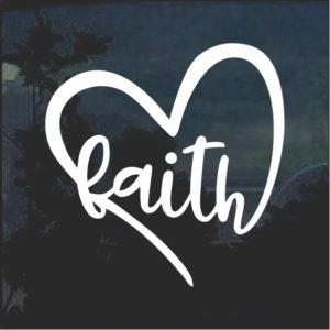 Faith Heart Christian Window Decal Sticker