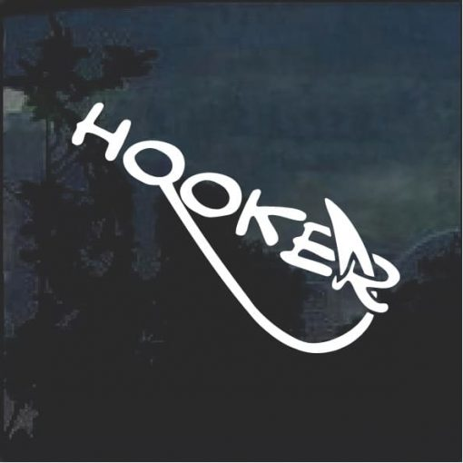 Hooker Funny Fishing Window Decal Sticker