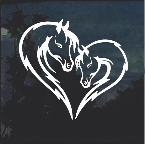 Horse Love Heart Head Window Decal Sticker Custom