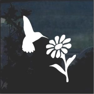 Hummingbird and daisy window decal sticker