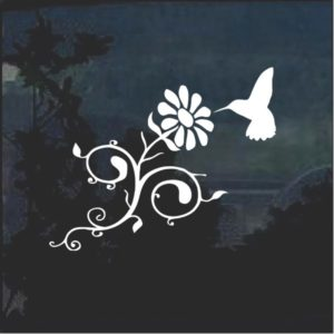 Hummingbird and daisy window decal sticker a2
