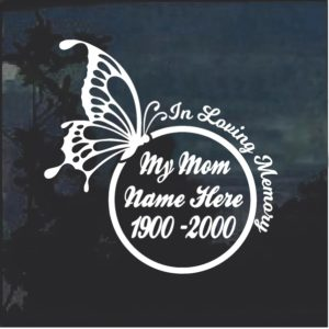 In Loving Memory of Mom Butterfly Round Decal Sticker
