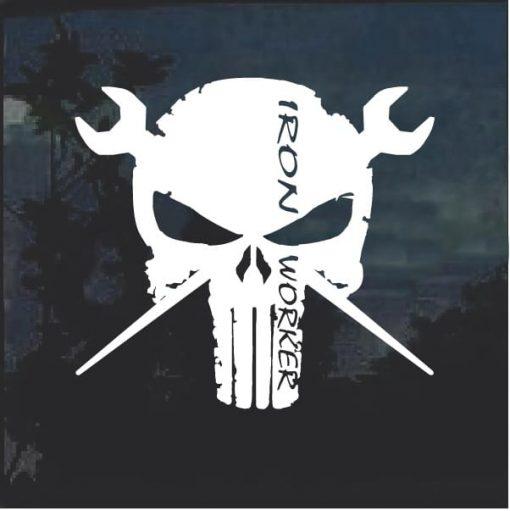Iron Worker Punisher Skull Decal Sticker