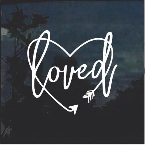 Loved Arrow Heart Window Decal Sticker