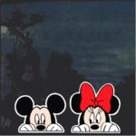 Mickey and Minnie peeking Pair of Decal stickers