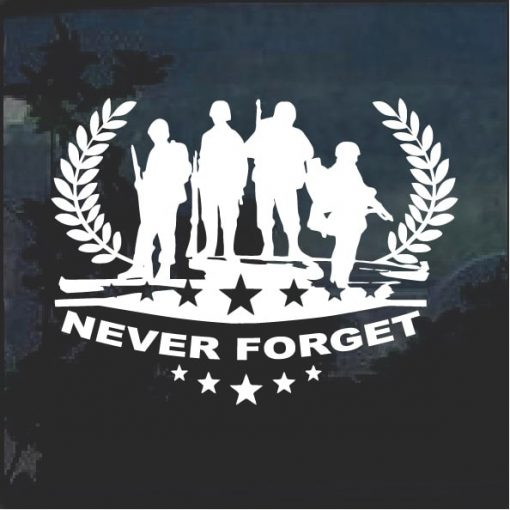 Never forget Military Honor window decal sticker