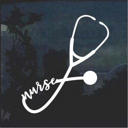 Nurse life Heart Stethoscope Window Decal Sticker a7