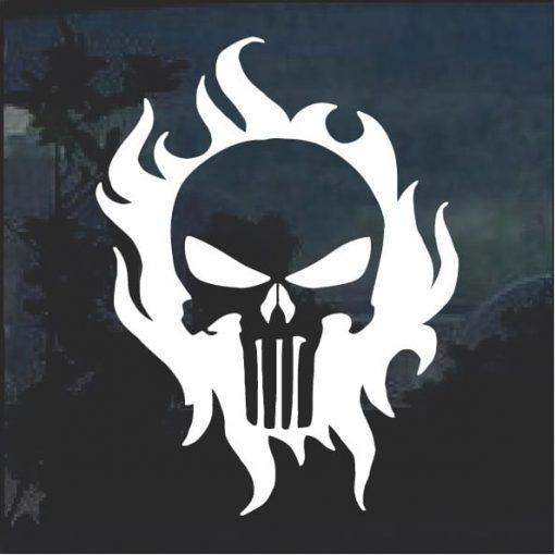 Punisher Flame Window Decal Sticker