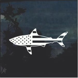 Shark American Flag Decal Sticker