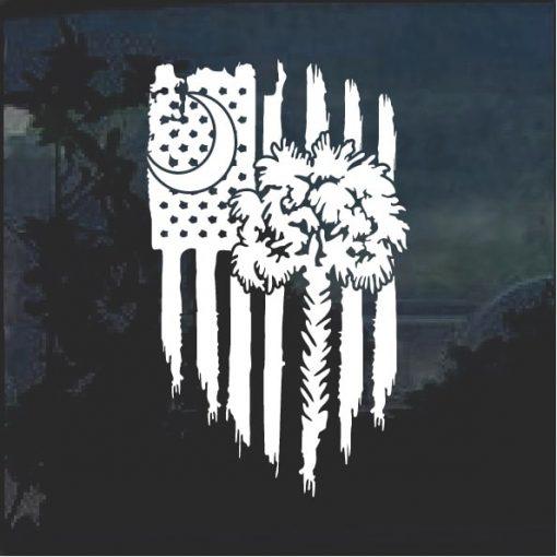 South Carolina Palmetto Weathered Flag Decal Sticker