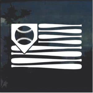 Baseball bat american flag window decal sticker