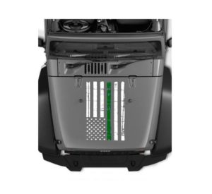jeep hood thin Green line Military decal sticker