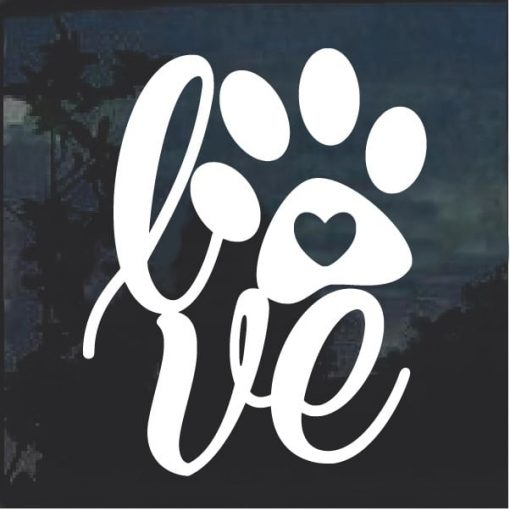 love Dog Paw Window Decal Sticker