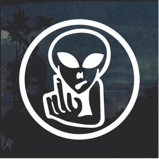 Alien Flip Off Fuck you Decal Sticker