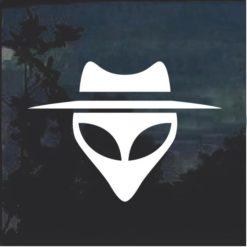 Alien head with hat Decal sticker