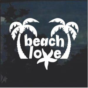 Beach Love Palm Trees Window Decal Sticker