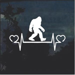 Big Foot Love Heartbeat Window Decal Sticker