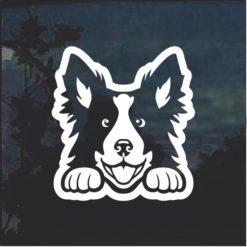 Border Collie Peeking Dog Window Decal Sticker