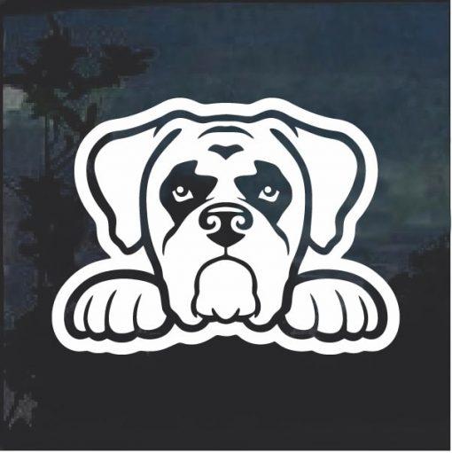 Boxer Peeking Dog Window Decal Sticker