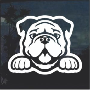 Bulldog Peeking Dog Window Decal Sticker