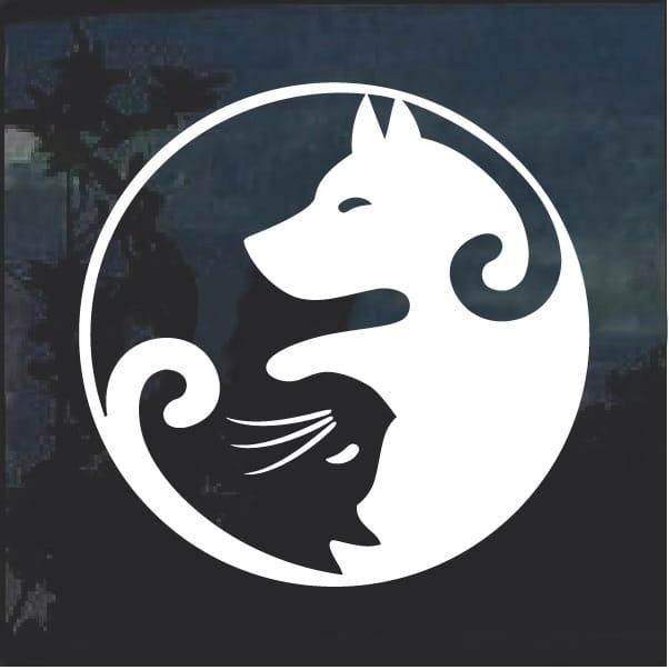 Cat and Dog Yin Yang Window Decal Sticker