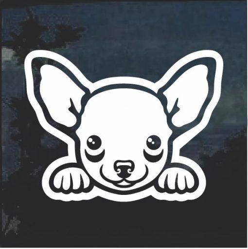 Chihuahua Peeking Dog Window Decal Sticker