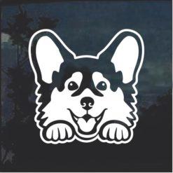 Corgi Peeking Dog Window Decal Sticker