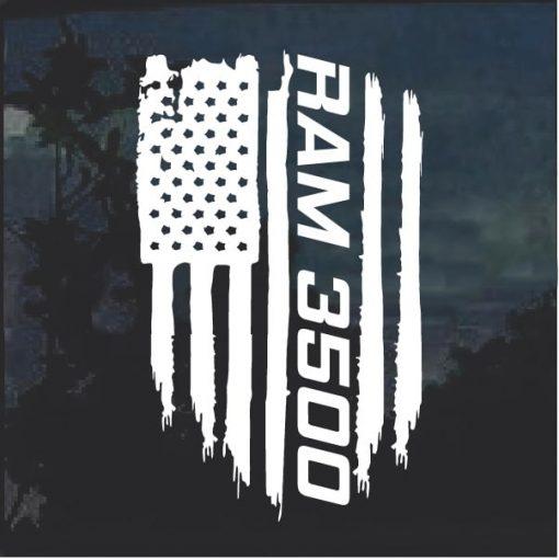 Dodge Ram 3500 Weathered Flag Decal Sticker
