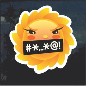 Emoji Sun Cursing Window Decal Sticker