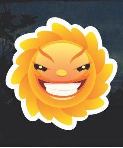Emoji Sun Evil Smile Window Decal Sticker
