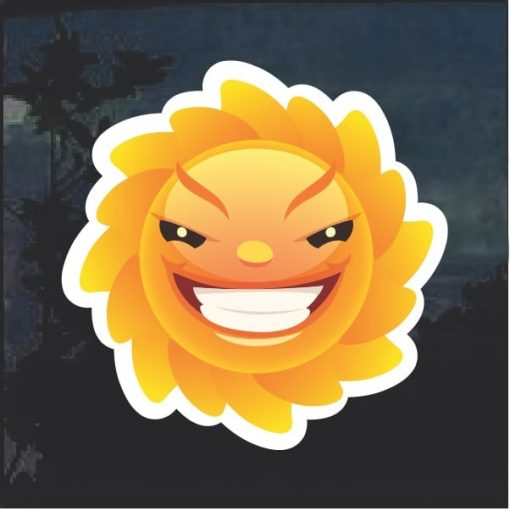 Emoji Sun Evil Smile Window Decal Sticker