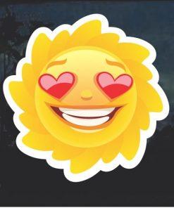 Emoji Sun Heart Eyes Smile Window Decal Sticker