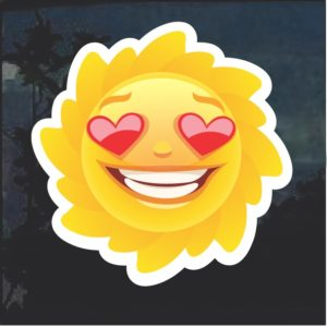Emoji Sun Heart Eyes Smile Window Decal Sticker