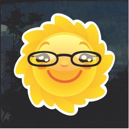 Emoji Sun Nerd Glasses Window Decal Sticker