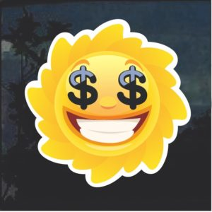 Emoji Sun Smiling Dollar Signs Window Decal Sticker