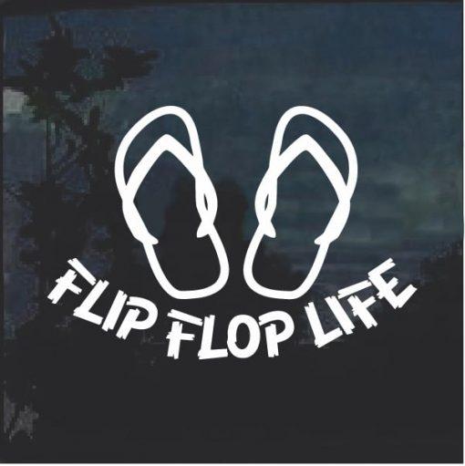 Flip Flop Life Beach Window Decal Sticker