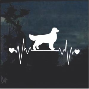 Golden Retriever Love Heartbeat Window Decal Sticker