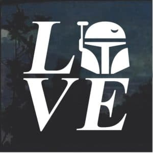 I love Bobba Fett Star Wars Window Decal Sticker