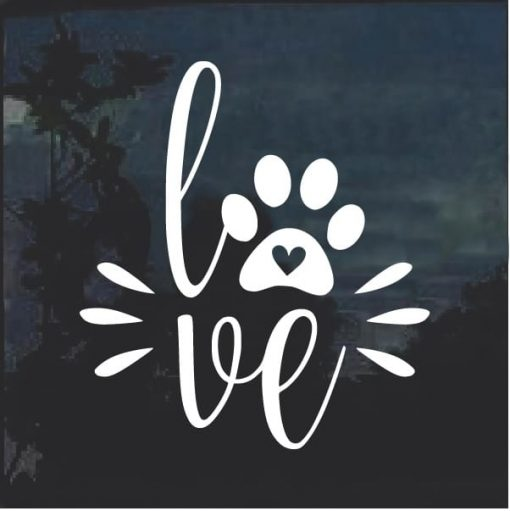 Love Dogs Puppy Paw Print Decal Sticker