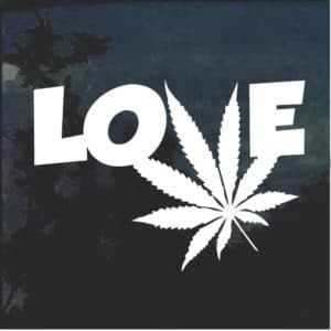 Love Marijuana Cannabis Leaf Window Decal Sticker